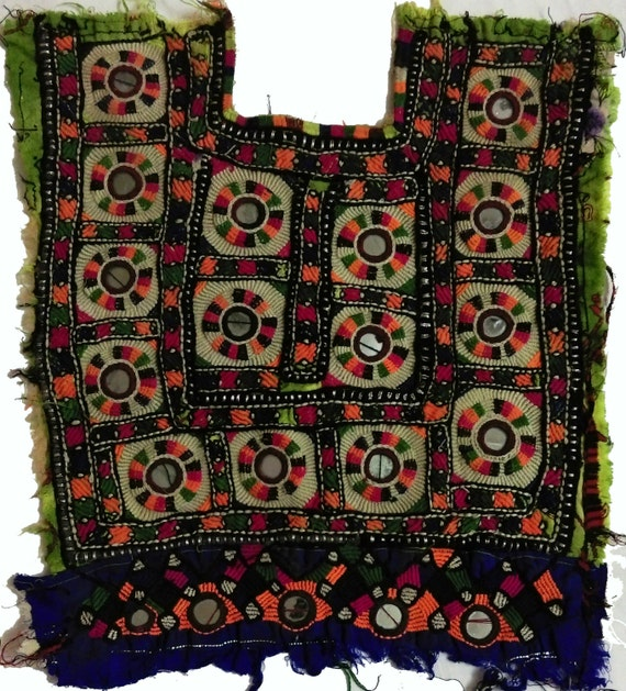 Indian Vintage Neck Yoke Embroidery And Mirror Work Handmade Etsy