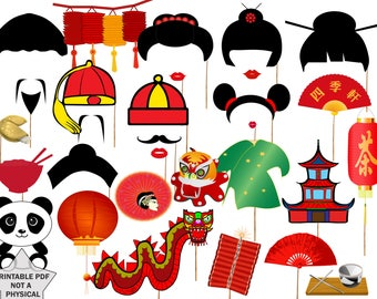 chinese new year party photo booth props chinese party props props printablechinese party propasian photo propchinese party decor