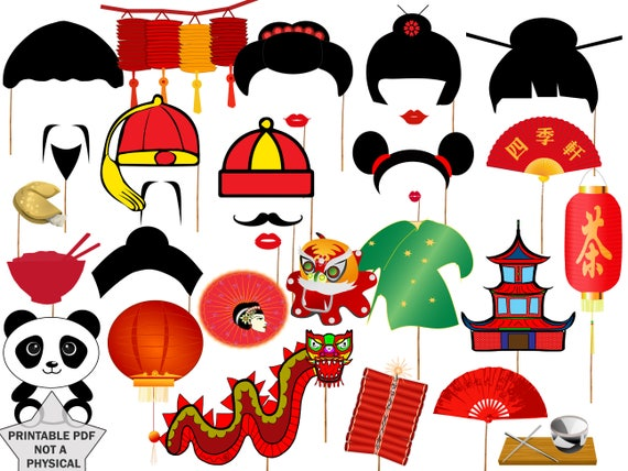 Chinese New Year Party Photo Booth Requisiten: | Etsy