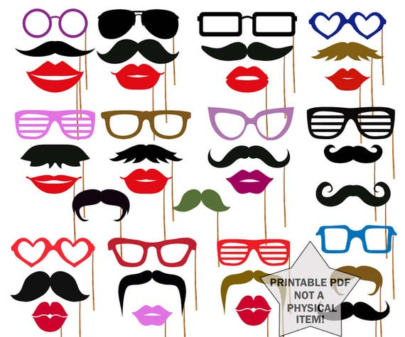 picture about Printable Photo Props titled Image Booth Props Printable props Printable Mustache Picture Booth Props Gles Props Lips photobooth props Celebration props Huge fastened props