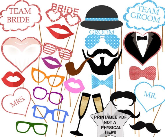Wedding Signs Photo Booth Props Printable Props Bridal Shower Etsy