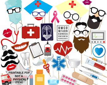 """Doctor Party Printable Photo Booth Props: """"MEDICAL PHOTO PROPS"""" Medical Themed Party Photo Booth Prop Pharmacist  Booth Props Nurse Party"""
