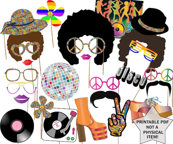 70s Party Photo Booth Props Disco Party Props Etsy