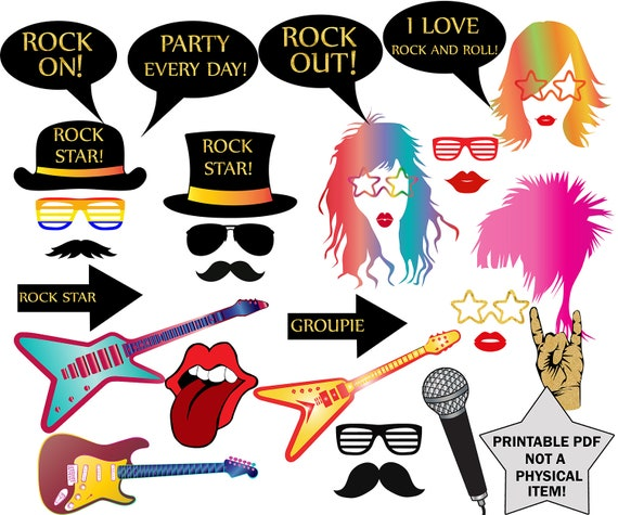 Rock Party Photo Booth Props Rock Star Party Rock Etsy
