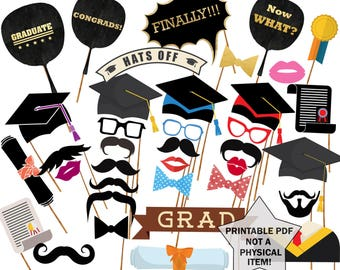 "Graduation Photo Props: ""PRINTABLE PHOTO PROPS"" Graduation Photo Booth Graduation Photobooth Props Party Props graduation party"