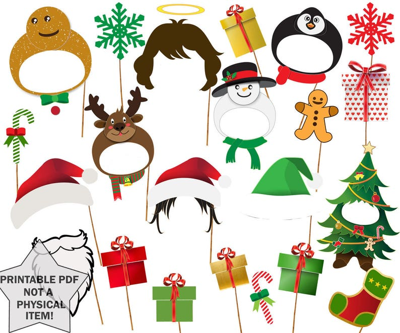 graphic about Christmas Photo Props Printable named Xmas Picture Booth Props: \