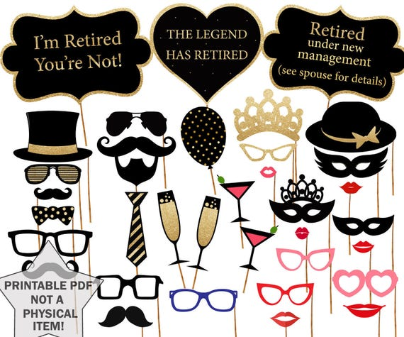 Retirement Photo Booth Props Printable Party Props Retirement Celebration Retirement Party Photobooth Props Retirement Photo Prop Pdf