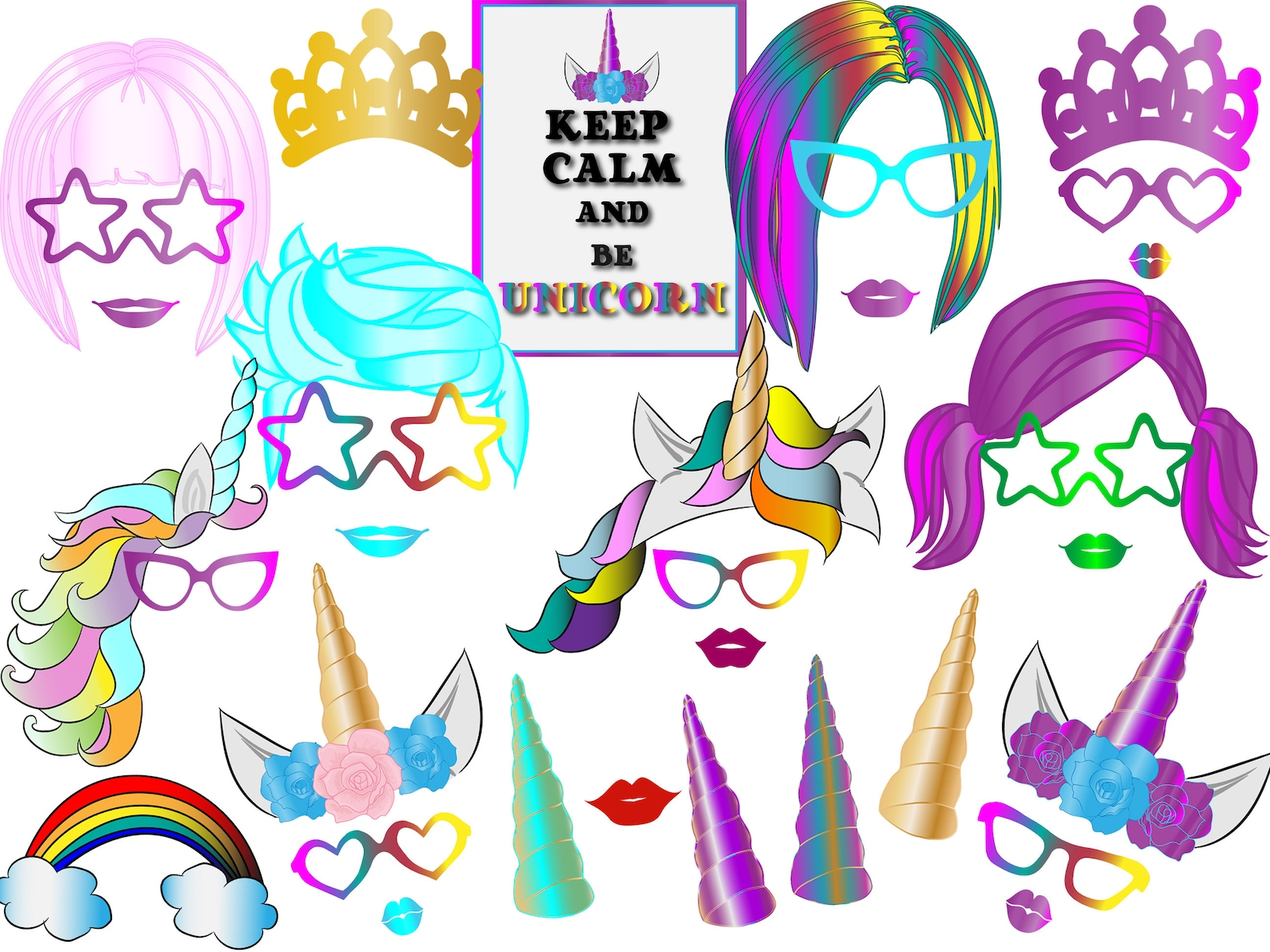 Printable Unicorn Photo Booth Props Page Two