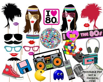 """80s Photo Booth Props: """"80'S PARTY PROPS"""" 1980's Era photobooth Props 80s party printable Eighties party  Fun Photo Booth Instant download"""