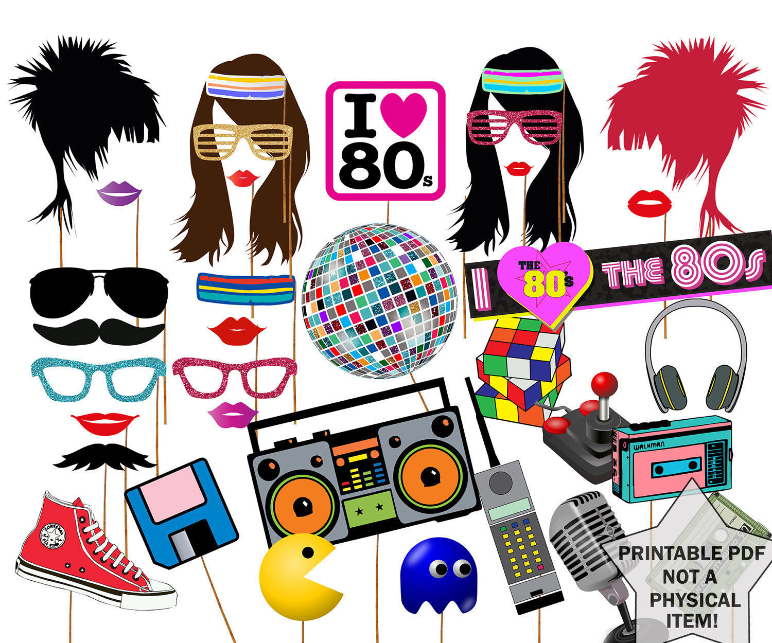 80s Photo Booth Props 80 S Party Props Etsy