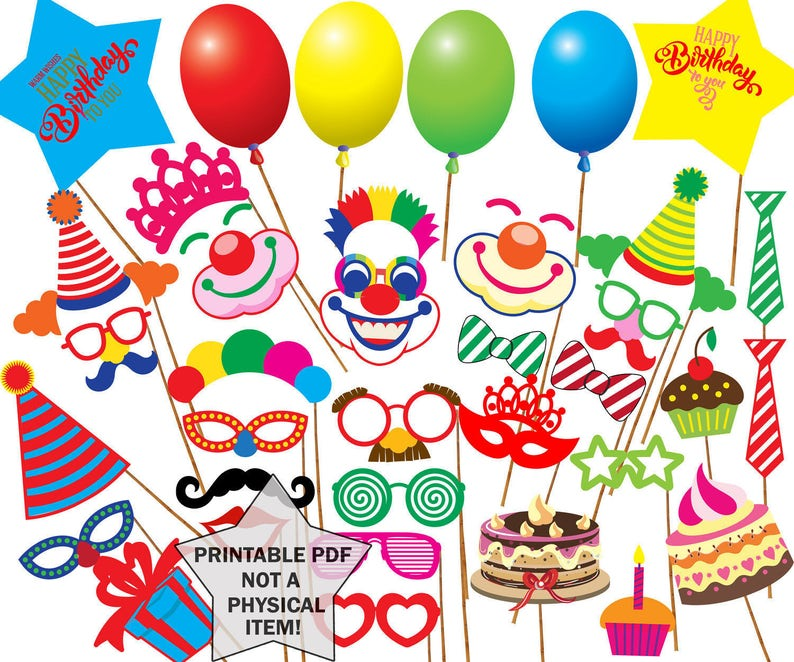 image relating to Printable Photo Props identified as Birthday celebration picture booth props: \