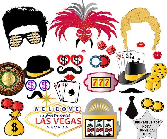 SUNBEAUTY Casino Photo Props Set di 24 Las Vegas Photo Props Photo Booth Props Casino Birthday Party Supplies Decorazione