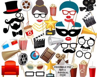 """Movie Night Party Photo Booth Prop: """"PRINTABLE MOVIE PROPS"""" Movie Photobooth Props Oscar Awards Party Cinema Birthday Hollywood party"""