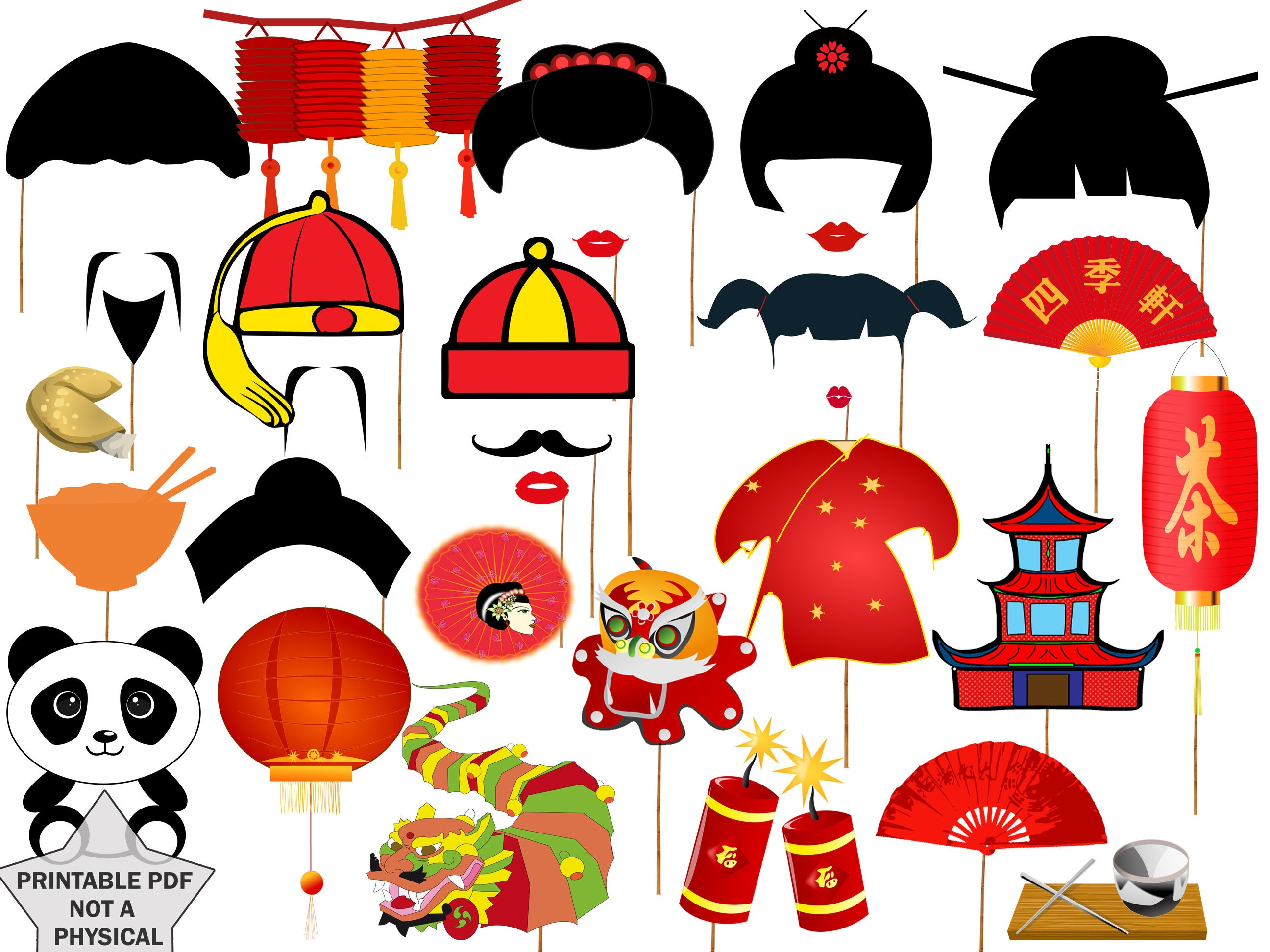Chinese New Year Party Photo booth props: CHINESE PARTY | Etsy