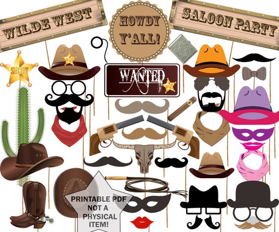 Cowboy Photo Booth Props Western Party Props Wild Etsy