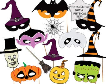 """Halloween party Photo booth Props: """"HALLOWEEN MASKS"""" printable masks photo booth props kids masks props halloween photobooth party props"""
