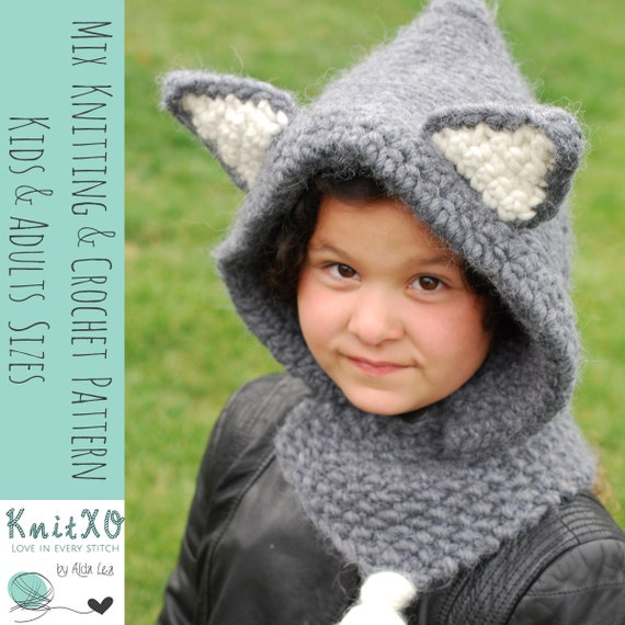 Knitting Pattern Wolf Hooded Cowl Mix Crochet Pattern Child Etsy
