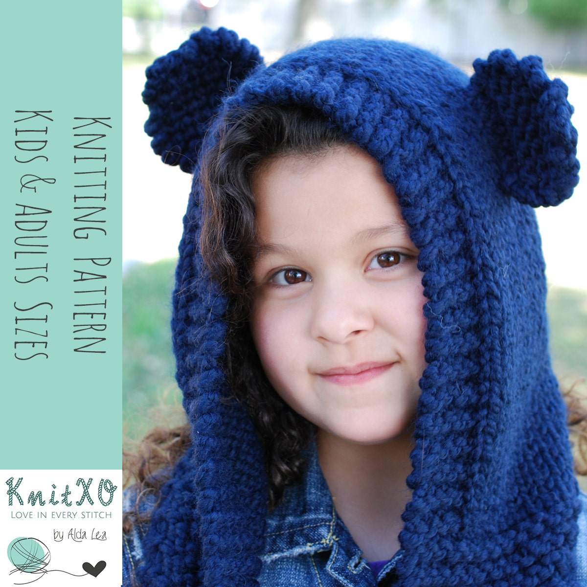Knitting Pattern Bear Hooded Cowl Multiple Sizes Child and Adult ...