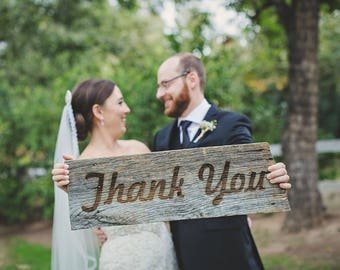 Thank You Sign | made with reclaimed wood and engraved using your favorite font