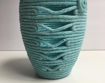 Aqua 1/4 inch Cotton Rope Pot
