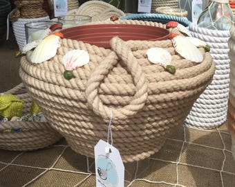 """3/8 Cotton rope """" Beige Charmer bowl"""" with natural shell embellishments"""