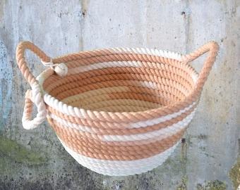 Burnt Sienna and White Utility Basket