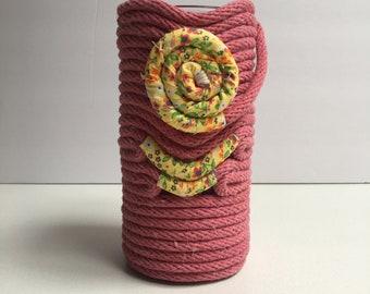 Raspberry 1/4 inch Cotton Rope Vase