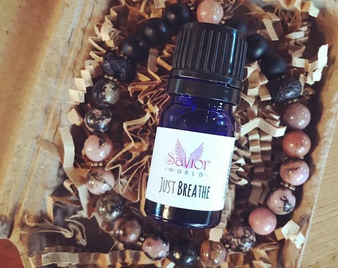 Rhodonite Essential Oil Bracelet & Just Breathe Blend