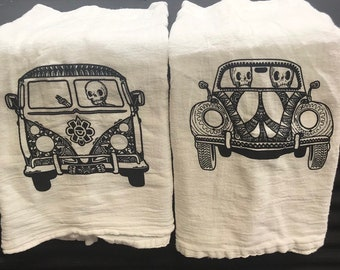 Set of 2 Skulls & Volkswagens Cotton Flour Sack Towels