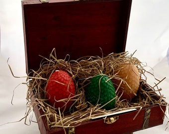 3 Dragon eggs candles in display box,