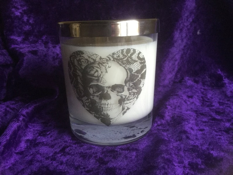 Skull pagan gothic boho container scented soy wax candle image 0