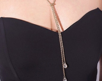 Gold / Silver Knotted Crystal Teardrop Y Long  Necklace - Fashion Jewelry
