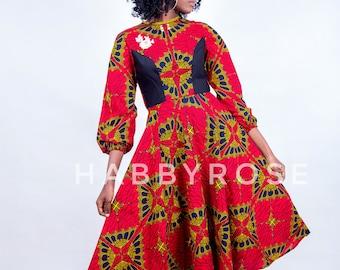 Kunbi African skater dress, African midi  dress, African party dress,  African dress, Ankara dress, African wax fabric, Midi dress