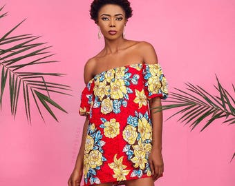 Saley off shoulder mini dress, African summer dress, off shoulder dress, African dress, Ankara dress, party dress, African party