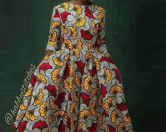 Dupe African skater dress, African midi  dress, African party dress,  African dress, Ankara dress, African wax fabric, Midi dress