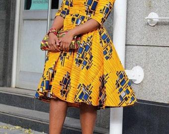 Sade African Midi dress, African dress, African midi  dress,African flared dress, Ankara dress, African wax fabric, African fabric,