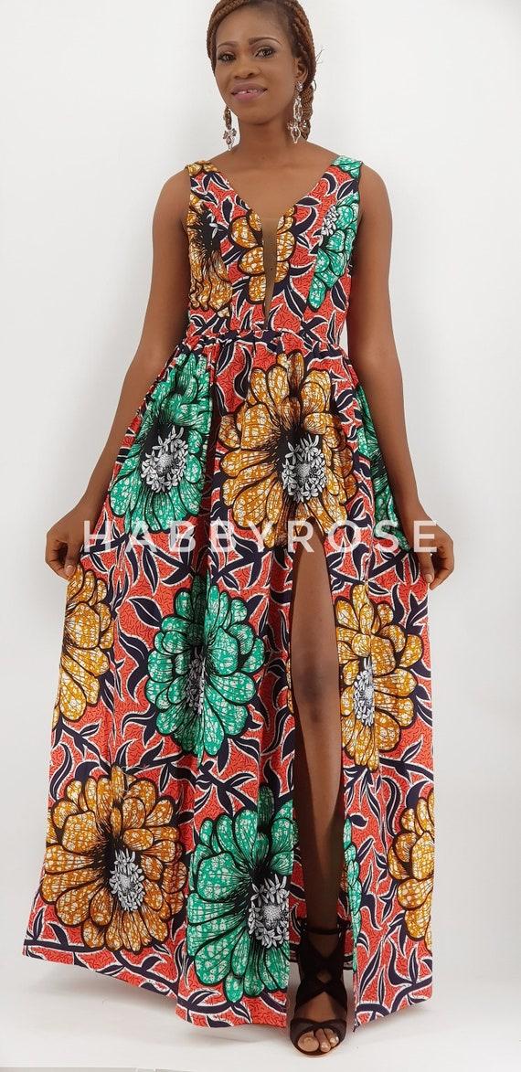 Bella africana Abito con spacco   African abiti abito maxi  457f9b64fd9
