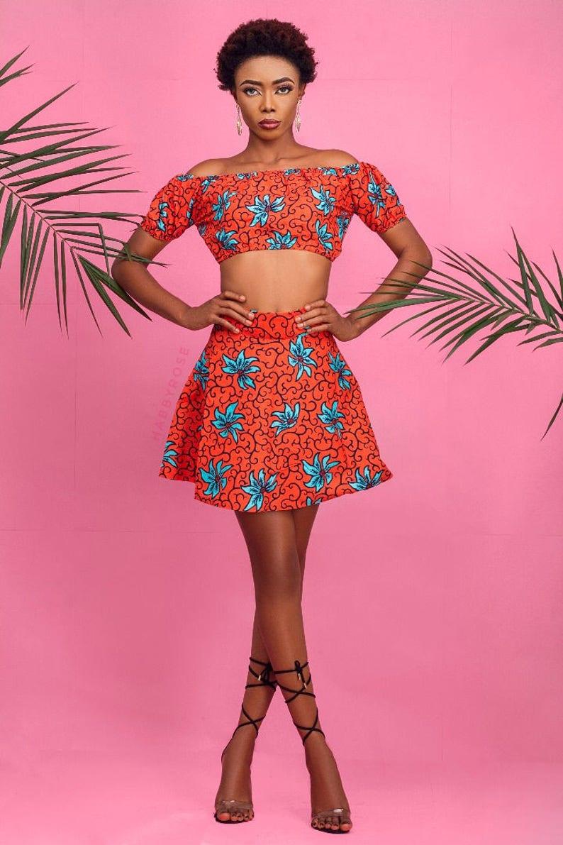 870e802148dec Jessy Crop top and mini skirt set African skirt African top