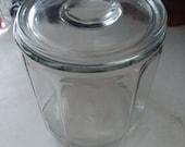 Antique Clear Paneled Glass Tobacco Jar w Flat Glass Lid