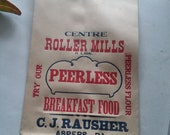 Vintage C J Rausher Centre Roller Mills Peerless Breakfast Food 6 Lbs. Paper Feed Bag