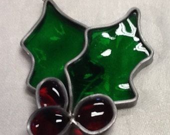 PRICE REDUCED Vintage handmade leaded stained glass holly ornament