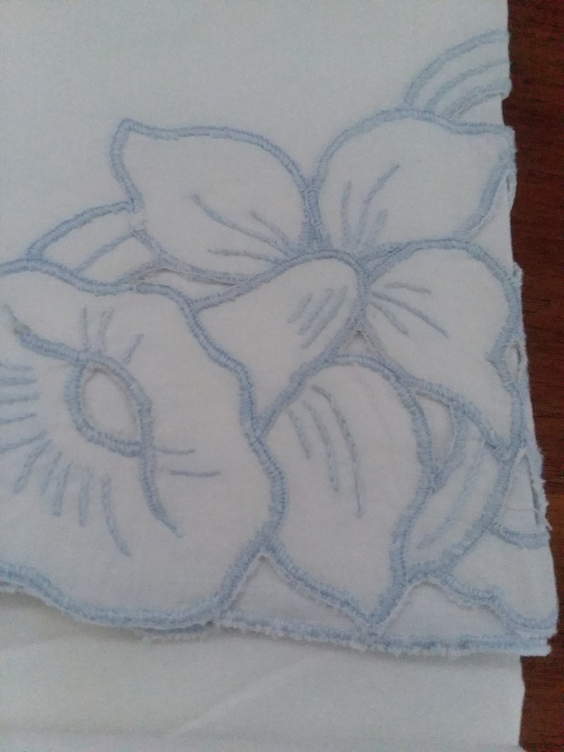 Set of White Cotton Pillowcases wBlue Daffodil Floral Pattern