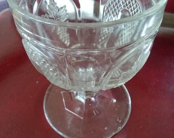 Vintage EAPG Footed Clear Glass Dessert Bowl