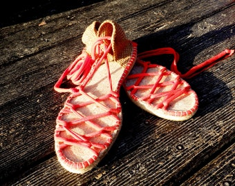 Greek espadrilles sandals. Colour coral red. Alpargatas made in Spain