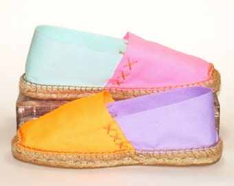Flat canvas espadrilles shoes Fluorescent Orange, Mauve, Fluorescent Pink and Aqua Green. Organic cotton. Alpargatas Made in Spain