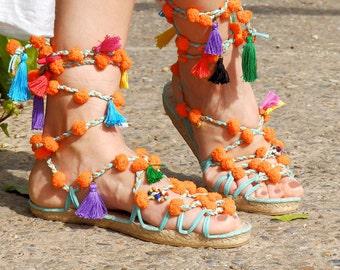 Boho sandals with pompoms.  Espadrilles Alpargatas made in Spain