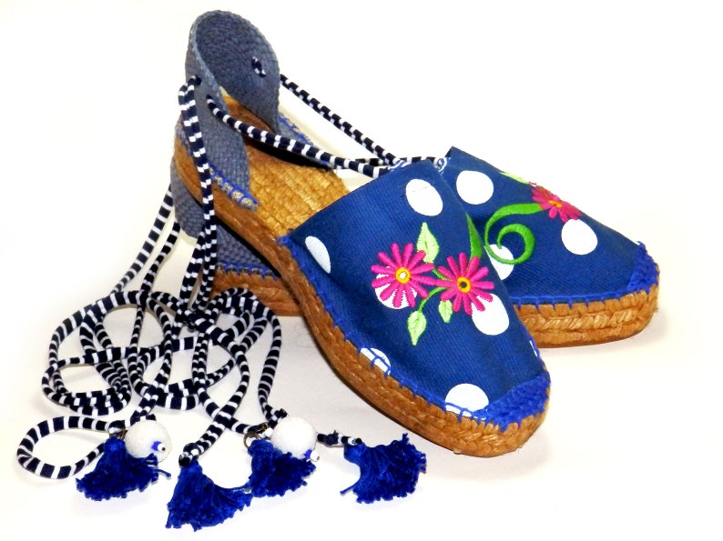 546bdc30369 Blue embroidered espadrilles with polka dots. Platform sole. Organic  cotton. Made in Spain