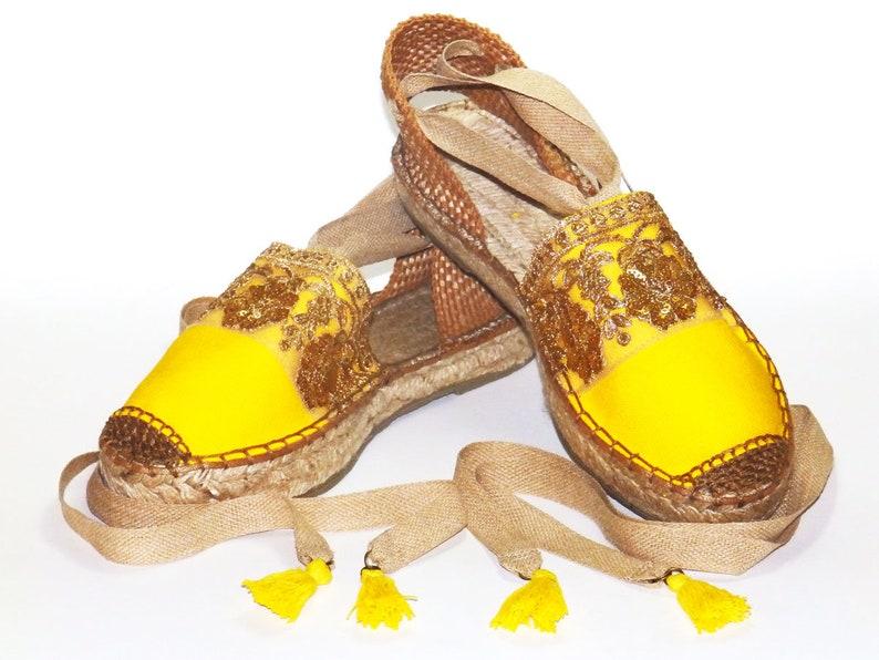 fd04fdf7ddd Platform yellow espadrilles sandals with golden embroidery