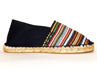 Flat Striped Espadrilles. Multicolor and black canvas. Organic cotton. Alpargatas Made in Spain