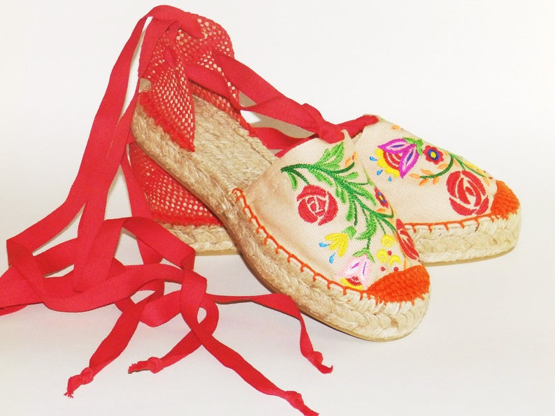 332bc1c690e Embroidered espadrilles Flowers colorful Organic cotton Alpargatas made in  Spain